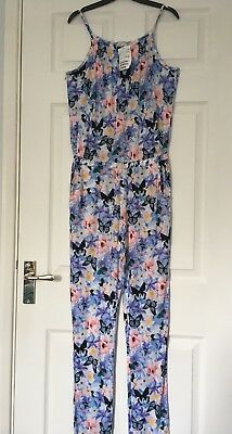 H&M Girls Blue Floral Butterfly Print  Playsuit 9-10 years ⭐️BNWT⭐️