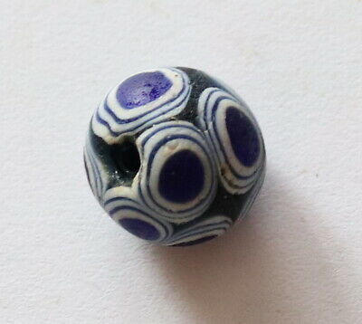 RARE ANCIENT VIKING DECORATED GLASS BEAD 8th-9th century AD