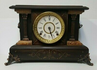 ANTIQUE 1890s SETH THOMAS Mantle Mantel Shelf Clock W/ Lion Heads