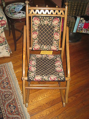 Antique Chair Child/Doll Fold Up Wood Rocking Chair With Needlepoint Back & Seat