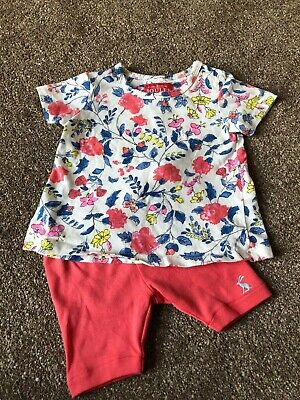 Girls 0-3 Months Summer Floral Joules Top T-Shirt & Pink Shorts Outfit S/N141