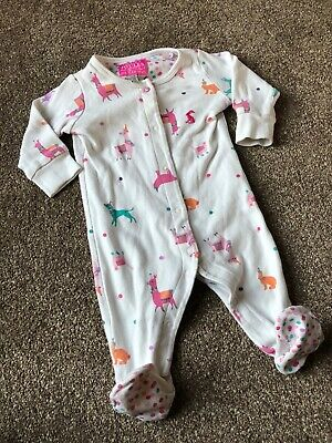 Girls 0-3 Months Joules Babygrow All In One White Pink  S/N131