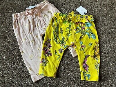 Girls 3-6 Months Next Light Weight Floral Yellow Peach Trousers New  S/N141