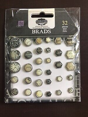 PRIMA 32 piece Engraver Collection BRADS, Scrapbooking Embellishments