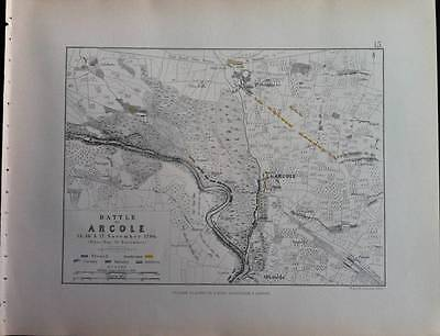 Map, Battle Plan ARCOLE c1796 FRENCH REVOLUTION War, Engraved A K Johnston, Hcol