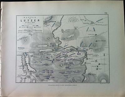 Map, Battle LUTZEN c1813 Thirty Years War Engraved A K Johnston, Hcol