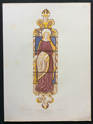 Winchester Cathedral Stained Glass, St Petronella, O Carter Le Keux, orig c1844