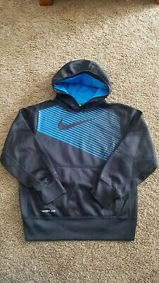 7c2d0c98f344 Boy s Youth NIKE THERMA-FIT Black Blue Striped Pullover Hoodie -Size small