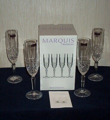 """Set Of 4 Waterford 6 oz Marquis Brady 9.4"""" Champagne Flutes #40017074 NEW IN BOX"""