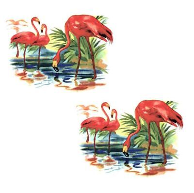 VinTaGe IMaGe ViViD CoLoRFuL SHaBbY PinK FLaMinGoS WaTerSLiDe DeCALs