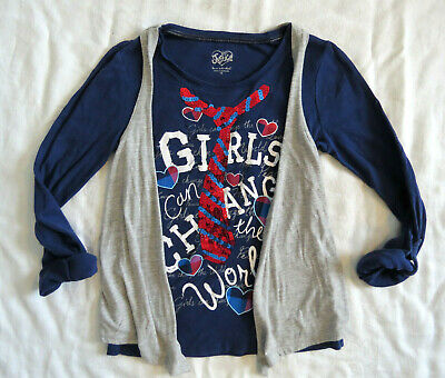 8ecf4ea8 Justice GIRLS CAN CHANGE THE WORLD T-shirt w Sequins Navy Blue w Gray Vest