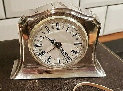 Solid Silver mantle Clock Birmingham 1910 Henry Matthews with modern movement