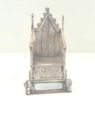 """English Sterling Throne Chair.  Lion Feet.  Hallmarked.  2' by 1"""".  Great shape"""