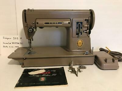 SINGER 301 SEWING MACHINE Tan Featherweight Sister Loaded w Attachments Serviced