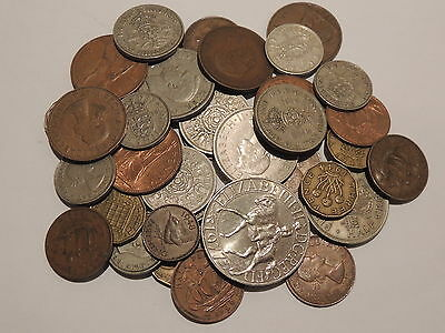 Bulk Lot 40 Old British Coins (1947 - 1967) - Farthing To Half Crown+ 1977 Crown