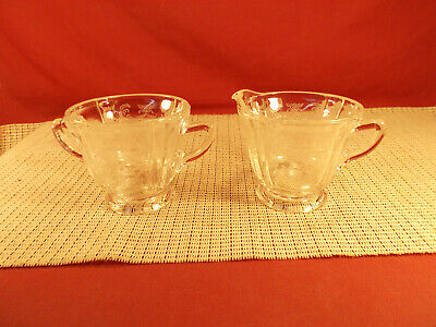 Indiana Crystal Recollection Clear Madrid Design Open Sugar & Creamer Set
