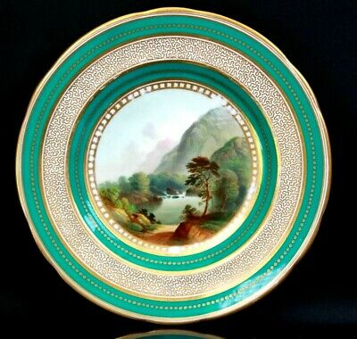 Antique Fine English Porcelain Plate Foot of Snowdon Pat 2399 Circa 1850