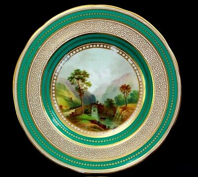 Antique Fine English Porcelain Plate Pont Aberglasslyn Pat 2399 Circa 1850