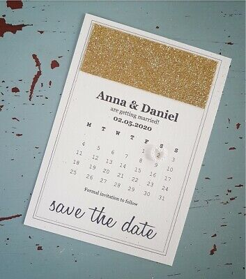 Gold Glitter Pearl Heart Ivory Cream Save The Date Cards Invitations