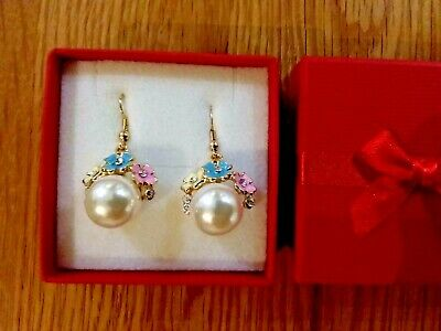 Brand new large gold earrings with pearls and  tiny enamel flowers and gift box