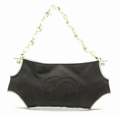 Authentic CHANEL COCO mark Chain Shoulder bag Black White Canvas&Leather Rank AB
