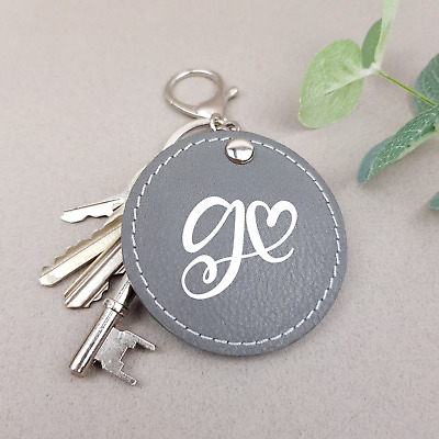 Initial Keyring Personalised Keychain Letter Handmade Genuine Leather Bag Charm