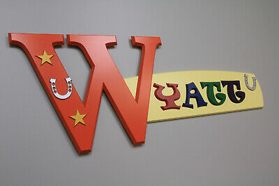 WYATT personalized wood name sign bedroom wall décor art plaque kid teen baby