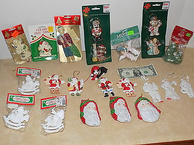 Vintage Lot Of 23 Christmas Ornaments & Decorations, Ceramic, W/Labels