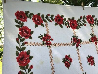 "VTG Tablecloth Terrycloth Red Rose Floral Beautiful Kitschy 50"" x 78"" MCM Retro"