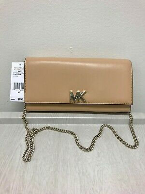 6101d4cf21ae NWT MICHAEL KORS Mott Large Smooth Leather Chain Wallet Crossbody Butternut