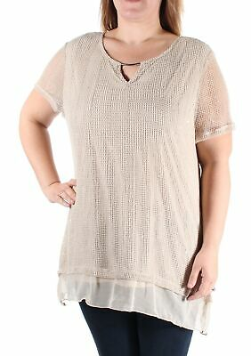 JM Collection Petite Textured Mesh Shirt