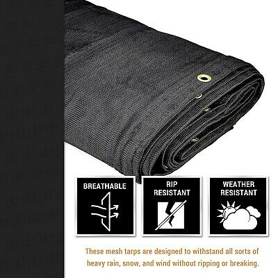 Heavy Duty Mesh Tarp Multipurpose Black Protective Cover with Air Flow