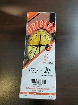 Chris Davis Record - Orioles Athletics MINT Season Ticket 4/8/19 2019 MLB Stub