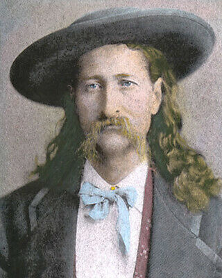 """JAMES BUTLER """"WILD BILL"""" HICKOCK WESTERN HERO 8x10"""" HAND COLOR TINTED PHOTOGRAPH"""