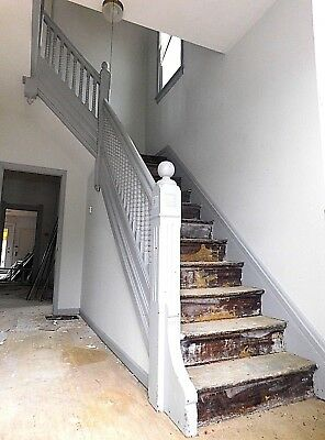 1880s Wood STAIRCASE Newels Railing Trim Stairs Butternut VICTORIAN Style ORNATE
