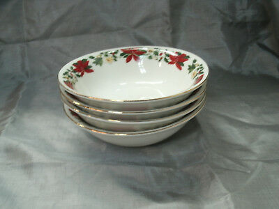 "Gibson Design POINSETTIA HOLIDAY Set of 4-6 3/8"" Soup Cereal Bowls Christmas"