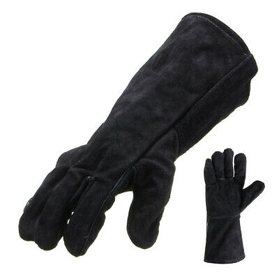 Black Wood Burner Welding Heat Resistant Leather Gloves Stoves Fire HEAVY DUTY