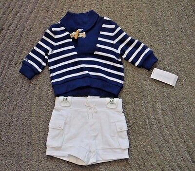 Ralph Lauren Baby Girls 2 Piece Blue & White Shorts Outfit - Size 3 Months - NWT
