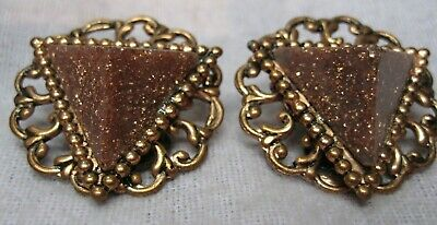 Jewelry Women's Vintage From 1960's Copper Construction Permit Goldstone ClipOn