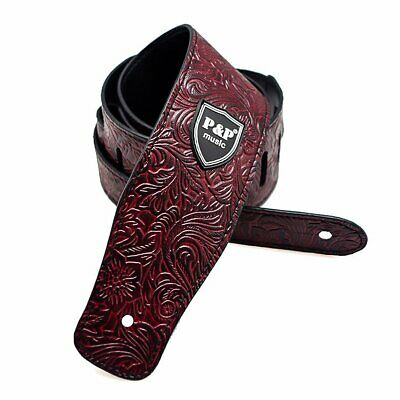 Guitar Strap PU Leather Embossed Alligator Acoustic Electric Bass Adjustable