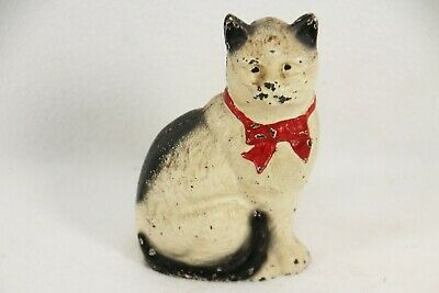 """Antique Cast Iron Still Penny Bank Cat with Bow Seated #2 John Wright 4.5""""h"""