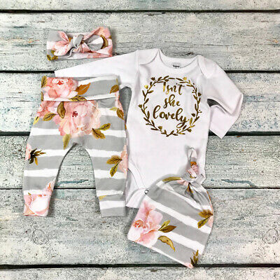 Newborn Baby Girls Floral Romper Tops Polka Dot Pants Outfits Set Clothes GG