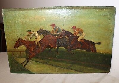 antique 1700s original Jockey horse racing jumping Folk Art oil painting on wood