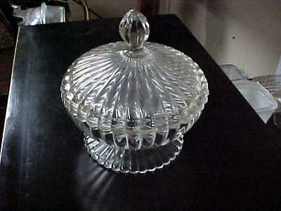 Vintage Lidded Candy/Dresser Dish Old And Very Nice 6.5 X 7 Inch Crystal Band