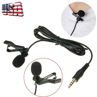 Clip-on Mini Lavalier Lapel Condenser Microphone Mic 3.5mm for Phone Laptop US