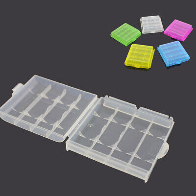 10Pcs Clear Case Cover Holder Plastic Battery Box Storage For AA AAA Batteries