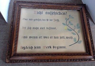 Antique German Hand Painted Motto Dont Put Off Until Tomorrow