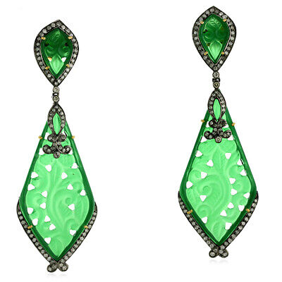 42.7ct Carved Green Onyx Dangle Earrings Pave Diamond 18kt Gold Silver Jewelry