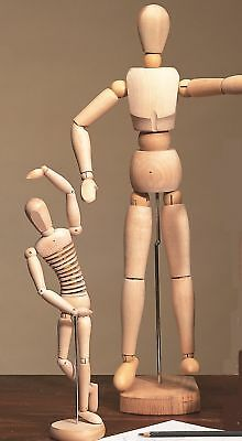 "12"" & 20"" Artists Manikins Wood Lay Figures, Rrp £59.99"