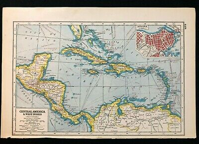 Vintage Map 1920, CENTRAL AMERICA & WEST INDIES (INDUSTRIAL) Harmsworth's Atlas
